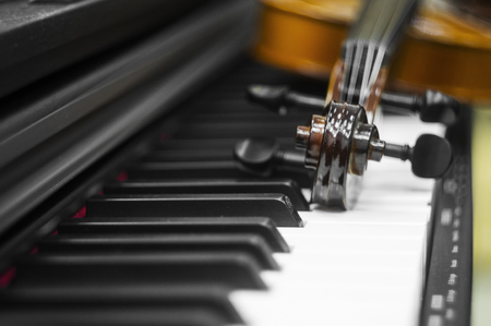 Violin piano keys on the background Stock fotó
