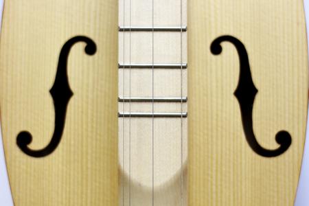 dulcimer, folk instrument close-up. background music, string wood Stockfoto
