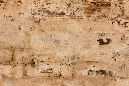Vintage Old Brick Wall Texture. Grunge Red White Stonewall Background. Distressed Wall Surface. Grungy Wide Brickwall. Shabby Building Facade With Damaged Plaster. Abstract Web Banner. Copy Space.