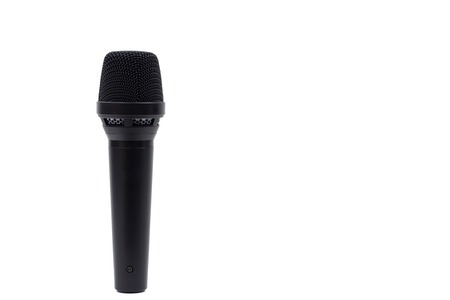 Professional vocal microphone of black color is isolated on white background.