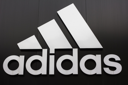 Kiev, Ukraine 04 01 2018 multinational corporation that designs and manufactures sports shoes, clothing and accessories