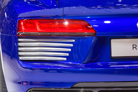 sportcar: Geneva, Switzerland - March 4, 2015: 2015 Audi R8 e-tron presented on the 85th International Geneva Motor Show
