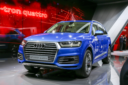 sportcar: Geneva, Switzerland - March 4, 2015: 2015 Audi Q7 e-tron presented on the 85th International Geneva Motor Show