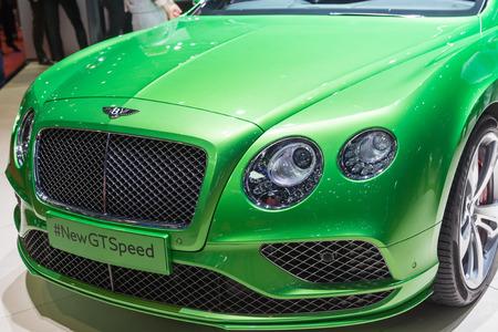 sportcar: Geneva, Switzerland - March 4, 2015: 2015 Bentley Continental GT Speed presented on the 85th International Geneva Motor Show
