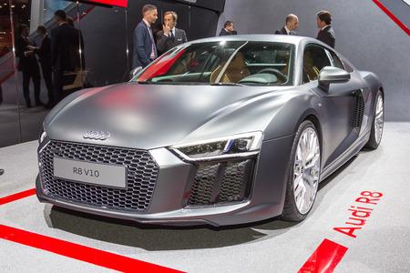 sportcar: Geneva, Switzerland - March 4, 2015: 2015 Audi R8 presented on the 85th International Geneva Motor Show