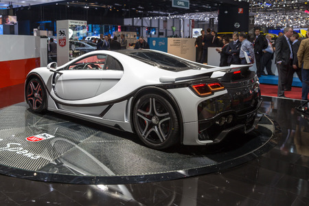 ch: Geneva, Switzerland - March 4, 2015: 2015 GTA Spano presented on the 85th International Geneva Motor Show Editorial