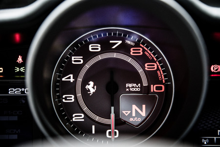 sportcar: Geneva, Switzerland - March 4, 2015: 2015 Ferrari 488GTB presented on the 85th International Geneva Motor Show Editorial