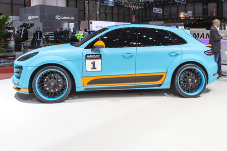 sportcar: Geneva, Switzerland - March 4, 2015: 2015 Hamann Porsche Macan S Diesel presented on the 85th International Geneva Motor Show Editorial
