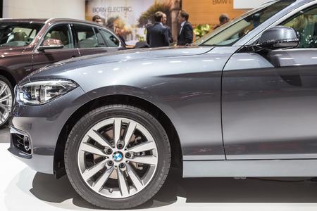sportcar: Geneva, Switzerland - March 4, 2015: 2015 BMW 1-Series presented on the 85th International Geneva Motor Show