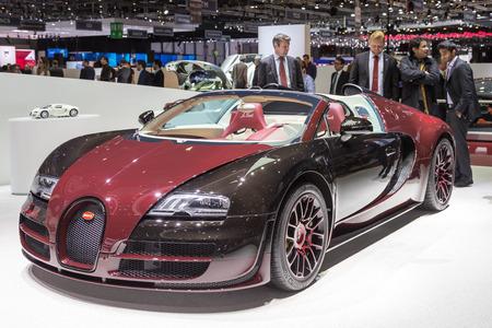 sportcar: Geneva, Switzerland - March 4, 2015: 2015 Bugatti Veyron La Finale presented on the 85th International Geneva Motor Show