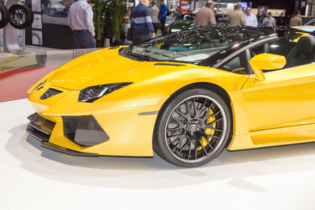 roadster: Geneva, Switzerland - March 4, 2015: 2015 Hamann Lamborghini Aventador Roadster presented on the 85th International Geneva Motor Show