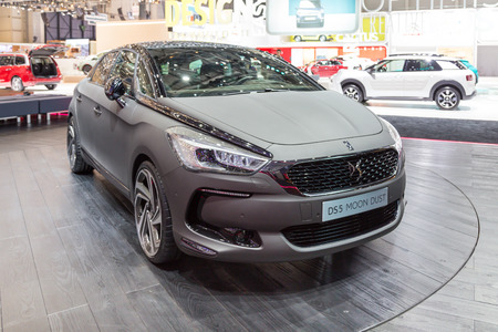 ch: Geneva, Switzerland - March 4, 2015: 2015 Citroen DS5 Moon Dust presented on the 85th International Geneva Motor Show Editorial