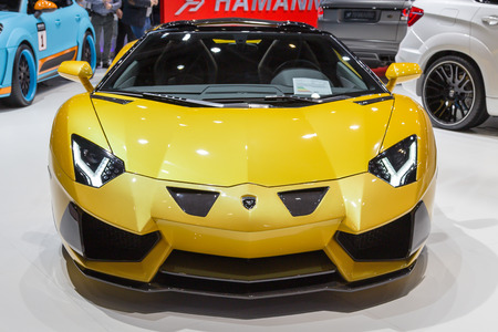 lamborghini: Geneva, Switzerland - March 4, 2015: 2015 Hamann Lamborghini Aventador Roadster presented on the 85th International Geneva Motor Show