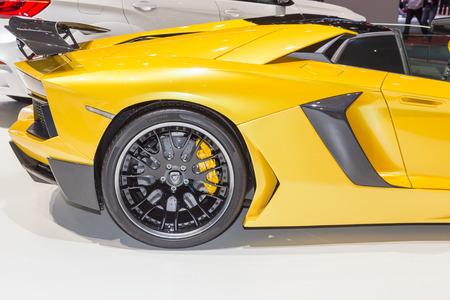 sportcar: Geneva, Switzerland - March 4, 2015: 2015 Hamann Lamborghini Aventador Roadster presented on the 85th International Geneva Motor Show
