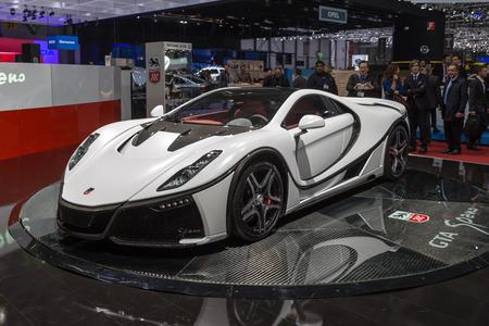 sportcar: Geneva, Switzerland - March 4, 2015: 2015 GTA Spano presented on the 85th International Geneva Motor Show Editorial