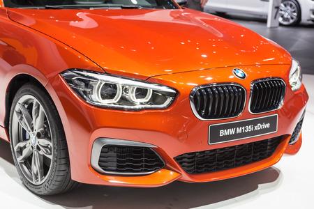 sportcar: Geneva, Switzerland - March 4, 2015: 2015 BMW M135i xDrive presented on the 85th International Geneva Motor Show Editorial
