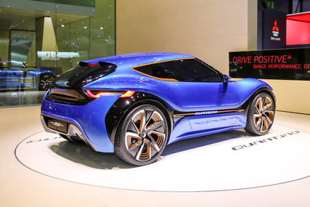 coupe: Geneva, Switzerland - March 4, 2015: 2015 nanoFlowcell Coupe Concept presented on the 85th International Geneva Motor Show