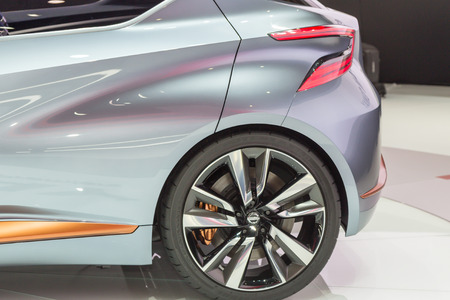 nissan: Geneva, Switzerland - March 4, 2015: 2015 Nissan Sway Concept presented on the 85th International Geneva Motor Show