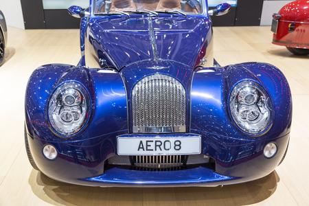 aero: Geneva, Switzerland - March 4, 2015: 2015 Morgan Aero 8 presented on the 85th International Geneva Motor Show Editorial