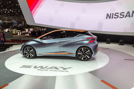 sway: Geneva, Switzerland - March 4, 2015: 2015 Nissan Sway Concept presented on the 85th International Geneva Motor Show