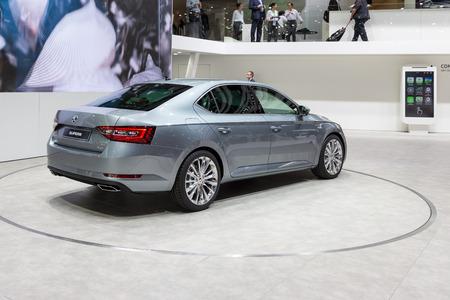 superb: Geneva, Switzerland - March 4, 2015: 2015 Skoda Superb presented on the 85th International Geneva Motor Show