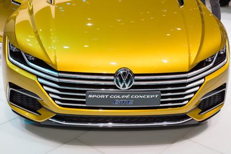 vw: Geneva, Switzerland - March 4, 2015: 2015 VW Sport Coupe Concept GTE presented on the 85th International Geneva Motor Show Editorial