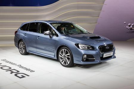 motor de carro: Geneva, Switzerland - March 4, 2015: 2015 Subaru Levorg EU-Version presented on the 85th International Geneva Motor Show