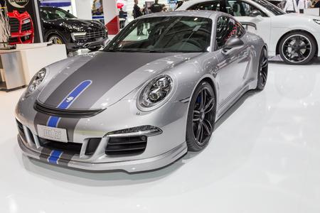 carrera: Geneva, Switzerland - March 4, 2015: 2015 TechArt Porsche 911 Carrera GTS presented on the 85th International Geneva Motor Show