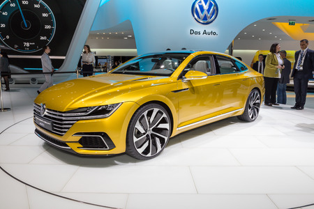 vw: Geneva, Switzerland - March 4, 2015: 2015 VW Sport Coupe Concept GTE presented on the 85th International Geneva Motor Show Editorial