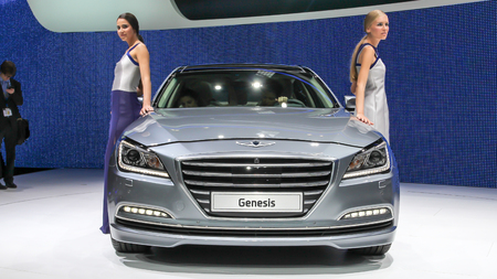 genesis: Geneva, Switzerland - March 2, 2014: 2014 Hyundai Genesis presented on the 84th International Geneva Motor Show Editorial
