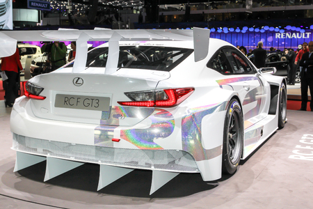 lexus: Geneva, Switzerland - March 2, 2014: 2014 Lexus RC F GT3 presented on the 84th International Geneva Motor Show
