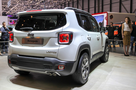 ch: Geneva, Switzerland - March 2, 2014: 2014 Jeep Renegade presented on the 84th International Geneva Motor Show Editorial