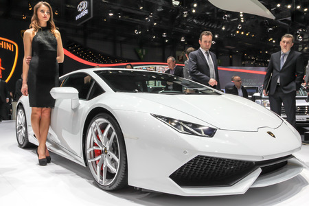 lp: Geneva, Switzerland - March 2, 2014: 2014 Lamborghini Huracan LP 610-4 presented on the 84th International Geneva Motor Show