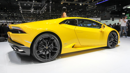 lamborghini: Geneva, Switzerland - March 2, 2014: 2014 Lamborghini Huracan LP 610-4 presented on the 84th International Geneva Motor Show