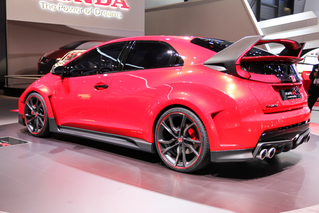 ch: Geneva, Switzerland - March 2, 2014: 2014 Honda Civic Type R Concept presented on the 84th International Geneva Motor Show