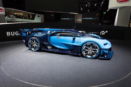 autoshow: Frankfurt, Deutschland - September 15, 2015: Bugatti Vision Gran Turismo Concept presented on the 66th International Motor Show in the Messe Frankfurt