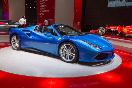 autoshow: Frankfurt, Deutschland - September 15, 2015: 2015 Ferrari 488 Spider presented on the 66th International Motor Show in the Frankfurt Messe