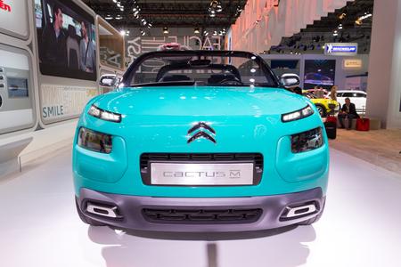 autoshow: Frankfurt, Deutschland - September 15, 2015: 2015 Citroen Cactus M Concept presented on the 66th International Motor Show in the Messe Frankfurt