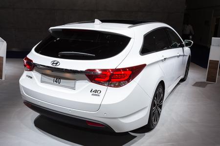 autoshow: Frankfurt, Deutschland - September 15, 2015: 2015 Hyundai i40 presented on the 66th International Motor Show in the Messe Frankfurt Editorial