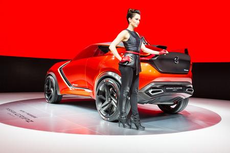 nissan: Frankfurt, Deutschland - September 15, 2015: 2015 Nissan Gripz Concept presented on the 66th International Motor Show in the Messe Frankfurt Editorial