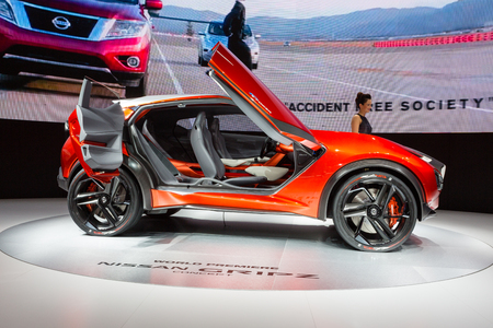 autoshow: Frankfurt, Deutschland - September 15, 2015: 2015 Nissan Gripz Concept presented on the 66th International Motor Show in the Messe Frankfurt Editorial