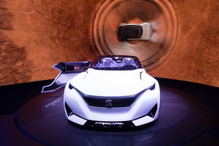 autoshow: Frankfurt, Deutschland - September 15, 2015: 2015 Peugeot Fractal Concept presented on the 66th International Motor Show in the Messe Frankfurt