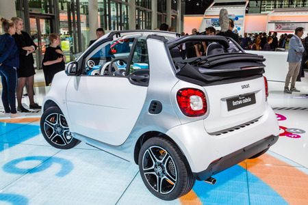 messe: Frankfurt, Deutschland - September 15, 2015: 2015 smart fortwo cabrio presented on the 66th International Motor Show in the Messe Frankfurt