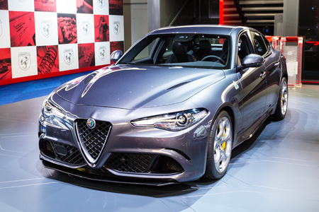 messe: Frankfurt, Deutschland - September 15, 2015: 2016 Alfa Romeo Guilia presented on the 66th International Motor Show in the Messe Frankfurt