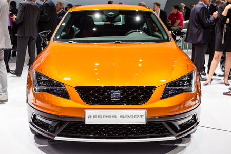 messe: Frankfurt, Deutschland - September 15, 2015: 2015 Seat Leon Cross Sport presented on the 66th International Motor Show in the Messe Frankfurt Editorial