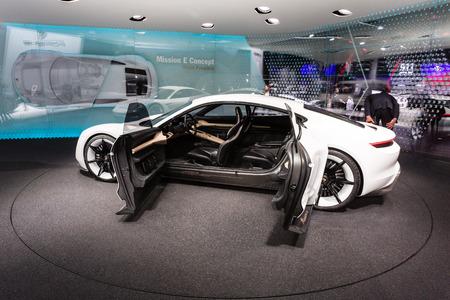 Frankfurt, Deutschland - September 15, 2015: 2015 Porsche Mission E Concept presented on the 66th International Motor Show in the Messe Frankfurt
