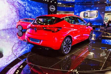 messe: Frankfurt, Deutschland - September 15, 2015: 2016 Opel Astra K presented on the 66th International Motor Show in the Messe Frankfurt Editorial