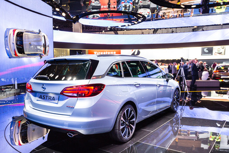 Frankfurt, Deutschland - September 15, 2015: 2016 Opel Astra K Sports Tourer presented on the 66th International Motor Show in the Messe Frankfurt Editorial