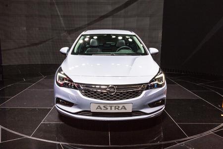 astra: Frankfurt, Deutschland - September 15, 2015: 2016 Opel Astra K Sports Tourer presented on the 66th International Motor Show in the Messe Frankfurt Editorial
