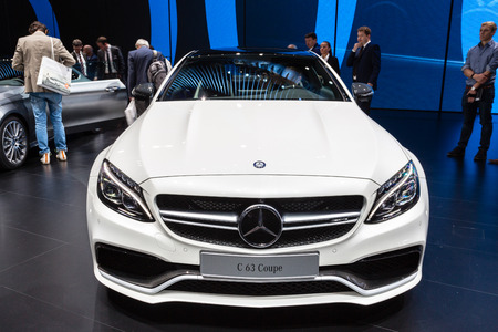 messe: Frankfurt, Deutschland - September 15, 2015: 2016 Mercedes-AMG C63S Coupe presented on the 66th International Motor Show in the Messe Frankfurt
